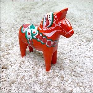 Vintage   Dala Sweden Hand Painted Wood Horse